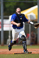 U-Mass Boston Beacons Todd Ezold (12) during a game against the Farmingdale State Rams at North Charlotte Regional Park on March 19, 2015 in Port Charlotte, Florida.  U-Mass Boston defeated Farmingdale 9-5.  (Mike Janes/Four Seam Images)