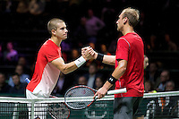 Rotterdam, The Netherlands, Februari 8, 2016,  ABNAMROWTT, Borna Coric (CRO), Thiemo de Bakker (NED)<br /> Photo: Tennisimages/Henk Koster