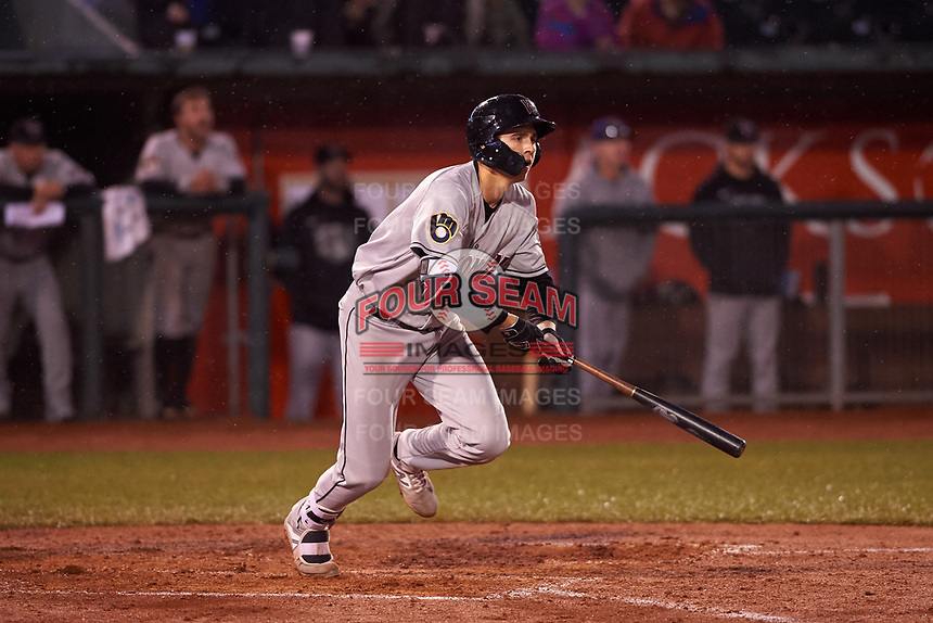 Wisconsin Timber Rattlers Chad McClanahan (9) at bat during a Midwest League game against the Lansing Lugnuts at Cooley Law School Stadium on May 2, 2019 in Lansing, Michigan. Lansing defeated Wisconsin 10-4. (Zachary Lucy/Four Seam Images)