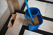 Mop and bucket, dustpan and brush, used on an early morning cleaning shift at Islington Town Hall.
