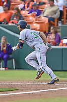 Notre Dame Fighting Irish pinch hitter Phil Mosey (33) runs to first during a game against the Clemson Tigers during game one of a double headers at Doug Kingsmore Stadium March 14, 2015 in Clemson, South Carolina. The Tigers defeated the Fighting Irish 6-1. (Tony Farlow/Four Seam Images)