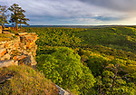 Petit Jean State Park, AR: Sunset light on lichen covered sandstone cliffs from Cedar Creek Canyon Overlook on Red Bluff Drive