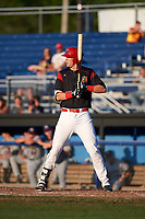 Batavia Muckdogs first baseman Sean Reynolds (15) at bat during a game against the Mahoning Valley Scrappers on August 16, 2017 at Dwyer Stadium in Batavia, New York.  Batavia defeated Mahoning Valley 10-6.  (Mike Janes/Four Seam Images)