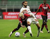 Milano 12-05 2021<br /> Stadio Giuseppe Meazza<br /> Serie A  Tim 2020/21<br /> Milan - Cagliari<br /> Nella foto:      Samuel Castillejo Pavoletti                                <br /> Antonio Saia Kines Milano