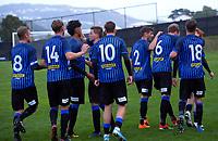Miramar players celebrate Owen Barnett's goal during the Central League football match between Miramar Rangers and Lower Hutt AFC at David Farrington Park in Wellington, New Zealand on Saturday, 10 April 2021. Photo: Dave Lintott / lintottphoto.co.nz
