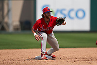 Philadelphia Phillies second baseman Madison Stokes (15) waits for a throw down during a Minor League Spring Training game against the Detroit Tigers on April 17, 2021 at Joker Marchant Stadium in Lakeland, Florida.  (Mike Janes/Four Seam Images)