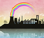 Illustrative image of rainbow emitting from industrial nuclear reactor representing green technology