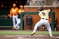 Vanderbilt Commodores catcher C.J. Rodriguez (5) at bat against the Tennessee Volunteers on Robert M. Lindsay Field at Lindsey Nelson Stadium on April 17, 2021, in Knoxville, Tennessee. (Danny Parker/Four Seam Images)