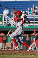 Williamsport Crosscutters center fielder Keudy Bocio (27) follows through on a swing during a game against the Batavia Muckdogs on June 21, 2018 at Dwyer Stadium in Batavia, New York.  Batavia defeated Williamsport 6-5.  (Mike Janes/Four Seam Images)