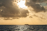 Sunset over the atoll islands in the lagoon in Tuvalu