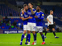 3rd November 2020; Cardiff City Stadium, Cardiff, Glamorgan, Wales; English Football League Championship Football, Cardiff City versus Barnsley; Joe Ralls of Cardiff City celebrates after scoring his sides second goal in the 45+1 minute