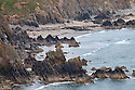 Raggle Rocks and Marloes Sands viewed from The Pembrokeshire Coast Path,<br /> The Pembrokeshire Coast National Park<br /> Pembrokeshire, Wales.
