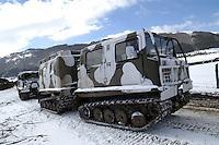 - winter training of Alpini mountain troops at Roccaraso, all-terrain veichle Hagglund BV206 ....- addestramento invernale degli Alpini a Roccaraso, veicolo fuoristrada Hagglund BV206