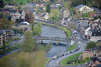 peloton crossing the Amblève river in Remouchamps<br /> <br /> 102nd Liège-Bastogne-Liège 2016