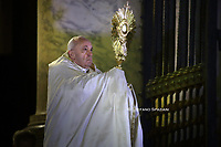 "VATICAN CITY, VATICAN - MARCH 27: A general view of St. Peter's Square as Pope Francis attends an extraordinary moment of prayer in time of pandemic, the adoration of the Blessed Sacrament and delivers an extraordinary ""Urbi Et Orbi"" (to the City of Rome and to the World) Blessing in front of an empty Square from the sagrato of St. Peter's Basilica, on March 27, 2020 in Vatican City, Vatican. The ""Salus Populi Romani"" icon and the crucifix of St. Marcellus, are placed in front of the central door of St. Peter's Basilica. Vatican Media broadcasted the ceremony live to the world and it could also be followed in several languages on Facebook and YouTube."