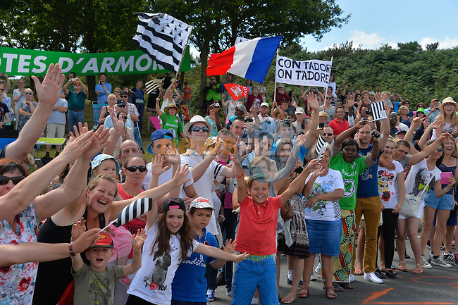 Brittany fans out in force during Stage 8 of the 2015 Tour de France running 181.5km from Rennes to Mur de Bretagne, France. 10th July 2015.<br /> Photo: ASO/B.Bade/Newsfile