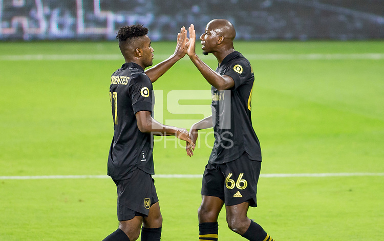 LOS ANGELES, CA - SEPTEMBER 23: Jose Cifuentes #11 of the Los Angeles football club celebrates a goal with team mate Bradley Wright-Phillips #66 during a game between Vancouver Whitecaps and Los Angeles FC at Banc of California Stadium on September 23, 2020 in Los Angeles, California.