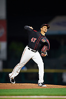 Rochester Red Wings starting pitcher Felix Jorge (47) delivers a pitch during the second game of a doubleheader against the Scranton/Wilkes-Barre RailRiders on August 23, 2017 at Frontier Field in Rochester, New York.  Rochester defeated Scranton 1-0.  (Mike Janes/Four Seam Images)