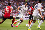 Real Madrid's player Gareth Bale and Stade de Reims's player Rigonato and Balde during the XXXVII Santiago Bernabeu Trophy in Madrid. August 16, Spain. 2016. (ALTERPHOTOS/BorjaB.Hojas)