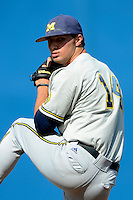 Michigan Wolverines pitcher Donnie Eaton #14 during an exhibition game against the New York Mets at Tradition Field on February 24, 2013 in St. Lucie, Florida.  New York defeated Michigan 5-2.  (Mike Janes/Four Seam Images)