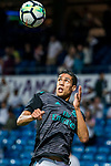 Raphael Varane of Real Madrid warms up prior to the La Liga 2017-18 match between Real Madrid and Athletic Club Bilbao  at Estadio Santiago Bernabeu on April 18 2018 in Madrid, Spain. Photo by Diego Souto / Power Sport Images