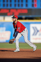 Fort Myers Miracle second baseman Alex Perez (2) during a game against the Dunedin Blue Jays on April 17, 2018 at Dunedin Stadium in Dunedin, Florida.  Dunedin defeated Fort Myers 5-2.  (Mike Janes/Four Seam Images)