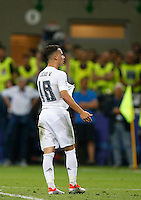 Calcio, finale di Champions League: Real Madrid vs Atletico Madrid. Stadio San Siro, Milano, 28 maggio 2016.<br /> Real Madrid's Lucas Vazquez celebrates after scoring during the penalty shootout of the Champions League final match between Real Madrid and Atletico Madrid, at Milan's San Siro stadium, 28 May 2016. Real Madrid won 5-4 on penalties after the match ended 1-1.<br /> UPDATE IMAGES PRESS/Isabella Bonotto