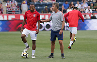 Chester, PA - Monday May 28, 2018: Julian Green, John Hackworth during an international friendly match between the men's national teams of the United States (USA) and Bolivia (BOL) at Talen Energy Stadium.