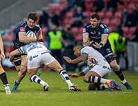 28th May 2021; AJ Bell Stadium, Salford, Lancashire, England; English Premiership Rugby, Sale Sharks versus Bristol Bears; Tom Curry of Sale Sharks is tackled