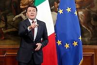 Matteo Renzi <br /> Roma 12-10-2016. Palazzo Chigi. Conferenza stampa di Presentazione del piano 'Sport e Periferie'.<br /> Rome 12th October 2016. Palazzo Chigi. Press conference to present the plan 'Sport and suburbs'.<br /> Foto Samantha Zucchi Insidefoto