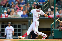 Rochester Red Wings Nick Banks (2) bats during a game against the Worcester Red Sox on September 3, 2021 at Frontier Field in Rochester, New York.  (Mike Janes/Four Seam Images)