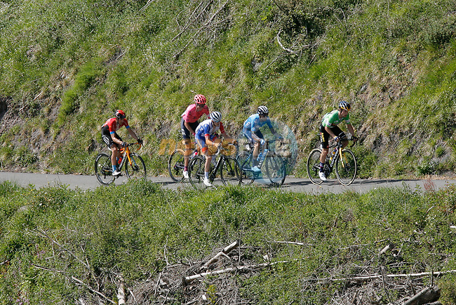 The lead group with Green Jersey Primoz Roglic (SLO) Team Jumbo-Visma, Alejandro Valverde (ESP) Movistar Team, David Gaudu (FRA) Groupama-FDJ, Hugh Carthy (GBR) EF Education-Nippo and Pello Bilbao Lopez De Armentia (ESP) Bahrain Victorious during Stage 6 of the Itzulia Basque Country 2021, running 111.9km from Ondarroa to Arrate, Spain. 10th April 2021.  <br /> Picture: Luis Angel Gomez/Photogomezsport | Cyclefile<br /> <br /> All photos usage must carry mandatory copyright credit (© Cyclefile | Luis Angel Gomez/Photogomezsport)