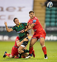 29th September 2020; Franklin Gardens, Northampton, East Midlands, England; Premiership Rugby Union, Northampton Saints versus Sale Sharks; Alex Mitchell of Northampton Saints loses the ball as he is challenged by Rohan Janse van Rensburg of Sale Sharks