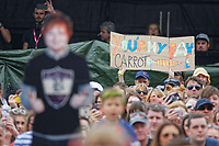 "Pictured: A 'You Are My Fav Carrot"" banner held in the crowd for Ed Sheeran. Saturday 26 May 2018<br /> Re: BBC Radio 1 Biggest Weekend at Singleton Park in Swansea, Wales, UK."