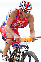 13 JUL 2013 - DEN HAAG, NED - Ruben Ruzafa (ESP)  of Spain cycles along the beach during the 2013 ITU Elite Men's Cross Triathlon World Championships in Kijkduin in Den Haag (The Hague), the Netherlands (PHOTO COPYRIGHT © 2013 NIGEL FARROW, ALL RIGHTS RESERVED)