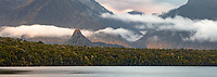 Sunrise over Lake Manapouri with rainbow and Monument, Fiordland National Park, UNESCO World Heritage Area, Southland, New Zealand, NZ