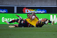 Ngani Laumape scores during the Super Rugby Aotearoa match between the Hurricanes and Crusaders at Sky Stadium in Wellington, New Zealand on Sunday, 11 April 2020. Photo: Dave Lintott / lintottphoto.co.nz