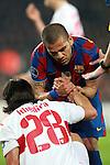 Barcelona's Dani Alves aides VfB Stuttgart's Sami Khedira during  Champions League match. March 17, 2010. (ALTERPHOTOS/Tati Quinones)