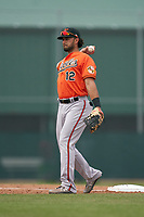 Baltimore Orioles first baseman JC Escarra (12) during a Minor League Spring Training game against the Pittsburgh Pirates on April 21, 2021 at Pirate City in Bradenton, Florida.  (Mike Janes/Four Seam Images)