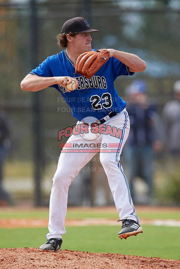 St. Petersburg Titans pitcher Jordan Powell (23) during a game against the Northwest Florida Raiders on January 31, 2020 at Lake Myrtle Sports Park in Auburndale, Florida.  Northwest Florida defeated St. Petersburg 5-1.  (Mike Janes/Four Seam Images)