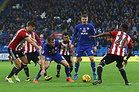 Joe Ralls of Cardiff City is marked by Josh Clarke of Brentford during the Sky Bet Championship match between Cardiff City and Brentford at the Cardiff City Stadium, Wales, UK. Saturday 18 November 2017