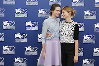 Stacy Martin, left, and Alba Rohrwacher attend a photocall for the movie 'Taj Mahal' during the 72nd Venice Film Festival at the Palazzo Del Cinema in Venice, Italy, September 10, 2015.<br /> UPDATE IMAGES PRESS/Stephen Richie