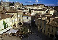 Saint Emilion, France, Bordeaux Wine Region, Gironde, Aquitaine, Europe, Aerial view of an outdoor café in the medieval village of St. Emilion.