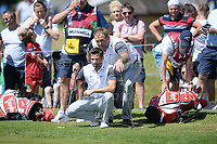 Television and radio presenter Gethin Jones and British Lions and Wales rugby international Scott Quinell both  members of Team Wales study the green during the Bulmers 2018 Celebrity Cup at the Celtic Manor Resort. Newport, Gwent,  Wales, on Saturday 30th June 2018<br /> <br /> <br /> Jeff Thomas Photography -  www.jaypics.photoshelter.com - <br /> e-mail swansea1001@hotmail.co.uk -<br /> Mob: 07837 386244 -