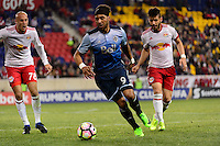 Harrison, NJ - Wednesday Feb. 22, 2017: Aurelien Collin, Giles Barnes, Felipe Martins during a Scotiabank CONCACAF Champions League quarterfinal match between the New York Red Bulls and the Vancouver Whitecaps FC at Red Bull Arena.