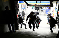 MADRID, SPAIN - FEBRUARY 17:  Police officers leave a subway station as People Attend a demonstration against the imprisonment of Spanish rapper Pablo Hasel on February 17 in Madrid, Spain.  (Photo by Joan Amengual / VIEWpress