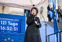 """Hunderte Menschen kamen am Samstag den 27. Januar 2019 in Berlin zu einer Kundgebung des ueberparteilichen Zusammenschluss """"Pulse of Europe"""" um fuer ein vereintes und friedliches Europa, ohne Fremdenhass und Ausgrenzung von Minderheiten zu demonstrieren. """"Wir wollen ein Zeichen setzen! Ein Zeichen, dass sich viele Menschen aktiv für den Erhalt eines demokratischen und rechtsstaatlichen, vereinten Europas einsetzen"""", so die Veranstalter, die sich auch ganz deutlich gegen einen Brexit aussprachen.<br /> Als Redner sprachen u.a. Margrethe Vestager, EU-Wettbewerbs-Kommissarin aus Daenemark und Guy Verhofstadt, Chefunterhaendler im EU-Parlament fuer den Brexit.<br /> Zu Beginn sprach die Publizistin Lea Rosh (im Bild) anlaesslich des Jahrestags der Befreiung des Konzentrationslager Auschwitz am 27. Januar 1945.<br /> In vielen Staedten Europas finden einmal pro Monat am Sonntag Veranstaltungen von Pulse of Europe statt.<br /> 27.1.2019, Berlin<br /> Copyright: Christian-Ditsch.de<br /> [Inhaltsveraendernde Manipulation des Fotos nur nach ausdruecklicher Genehmigung des Fotografen. Vereinbarungen ueber Abtretung von Persoenlichkeitsrechten/Model Release der abgebildeten Person/Personen liegen nicht vor. NO MODEL RELEASE! Nur fuer Redaktionelle Zwecke. Don't publish without copyright Christian-Ditsch.de, Veroeffentlichung nur mit Fotografennennung, sowie gegen Honorar, MwSt. und Beleg. Konto: I N G - D i B a, IBAN DE58500105175400192269, BIC INGDDEFFXXX, Kontakt: post@christian-ditsch.de<br /> Bei der Bearbeitung der Dateiinformationen darf die Urheberkennzeichnung in den EXIF- und  IPTC-Daten nicht entfernt werden, diese sind in digitalen Medien nach §95c UrhG rechtlich geschuetzt. Der Urhebervermerk wird gemaess §13 UrhG verlangt.]"""