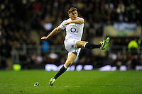 Owen Farrell of England takes a kick during the RBS 6 Nations match between England and Scotland at Twickenham on Saturday 02 February 2013 (Photo by Rob Munro)