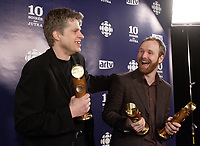 Montreal (Qc) Canada - March 9, 2008 -<br /> Real Bosse (L) and<br /> Stephane Lafleur R)<br /> at the 10th Jutras Gala held in Montreal.<br /> <br /> Real Bosse, won the best supporing actor JUTRAS and<br /> Stephane Lafleur won the Best Scenario, best filmmaking and best movie JUTRAS for CONTINENTAL ; UN FILM SANS FUSIL.<br /> <br /> photo :(c)  Images Distribution
