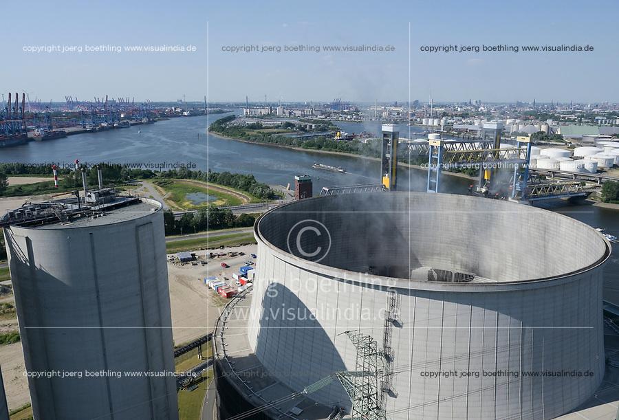 Germany, Hamburg, Vattenfall coal power station Moorburg, switched off in july 2021 as part of german coal exit, cooling tower / DEUTSCHLAND, Hamburg, Vattenfall Kohlekraftwerk Moorburg, in Betriebnahme 2015, letzter Betrieb vor endgültiger Abschaltung im Juli 2021, links Aschesilo und rechts Hybridkühlturm